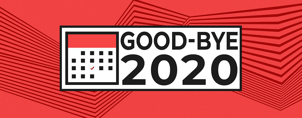 Good-bye 2020, red, black, white, calendar